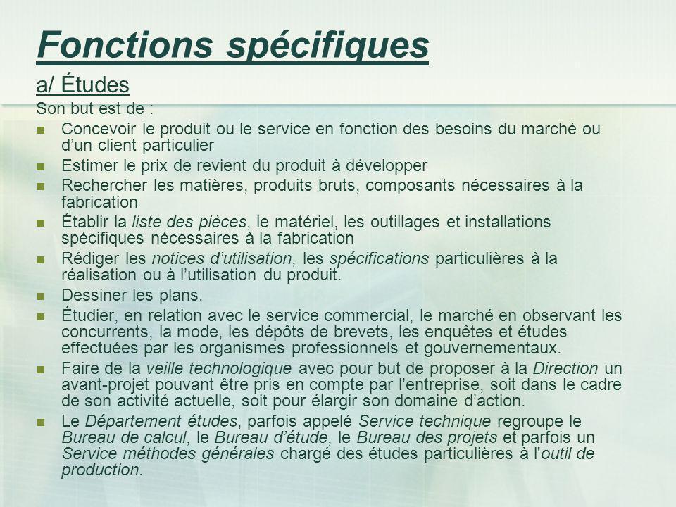 Fonctions spécifiques