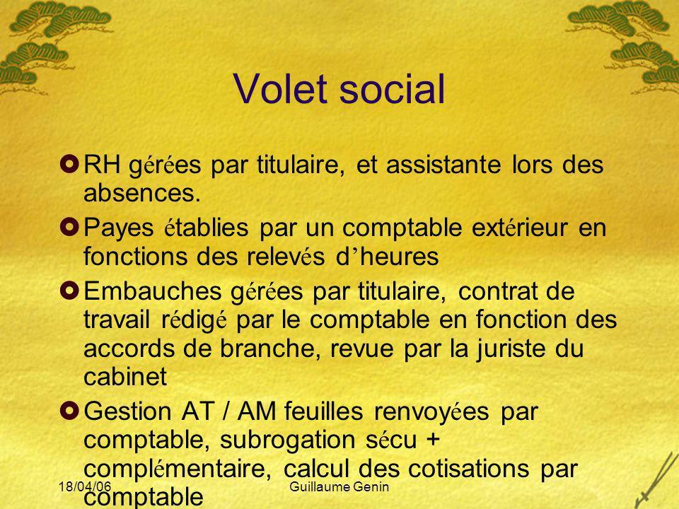 Volet social RH gérées par titulaire, et assistante lors des absences.