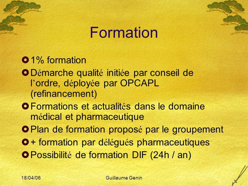 Formation 1% formation. Démarche qualité initiée par conseil de l'ordre, déployée par OPCAPL (refinancement)