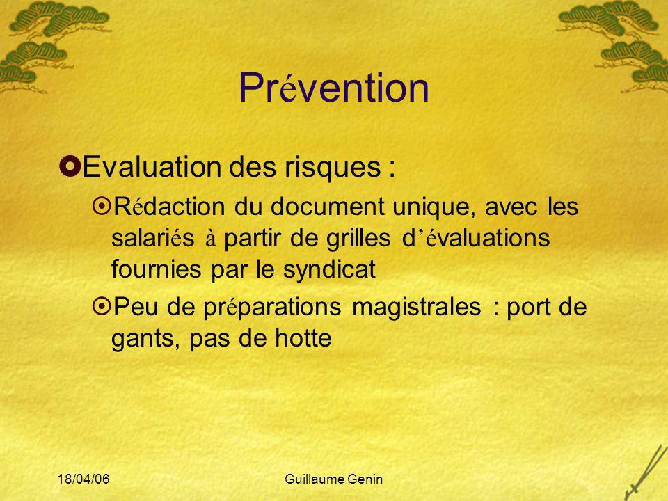 Prévention Evaluation des risques :