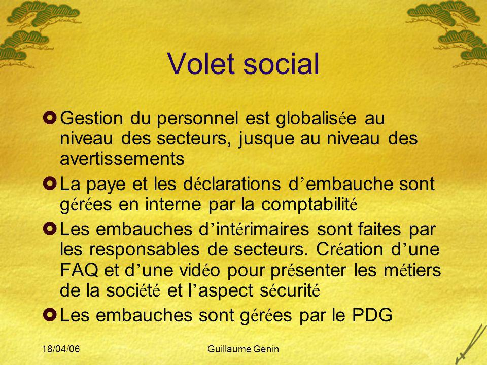 Volet social Gestion du personnel est globalisée au niveau des secteurs, jusque au niveau des avertissements.