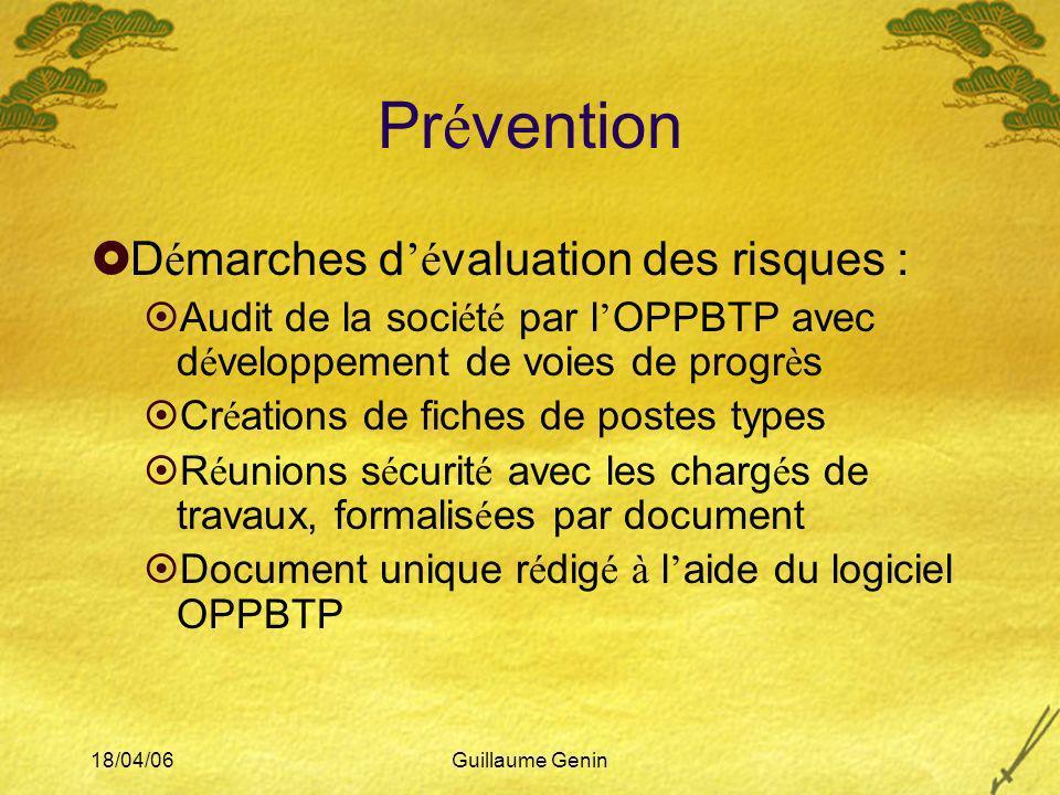 Prévention Démarches d'évaluation des risques :