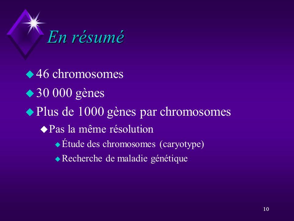En résumé 46 chromosomes 30 000 gènes
