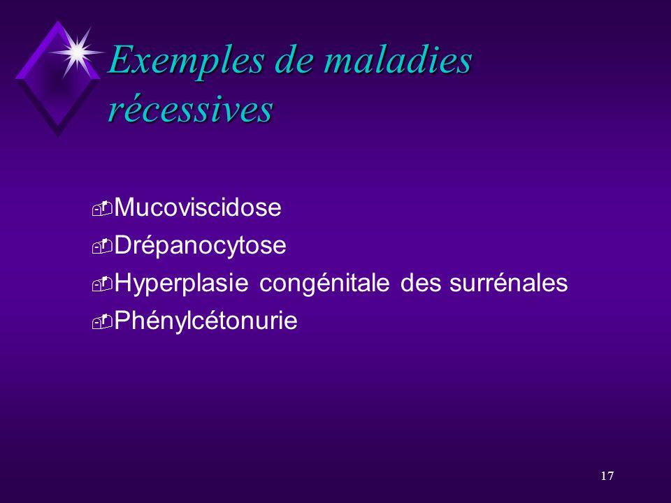Exemples de maladies récessives