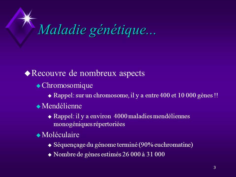 Maladie génétique... Recouvre de nombreux aspects Chromosomique