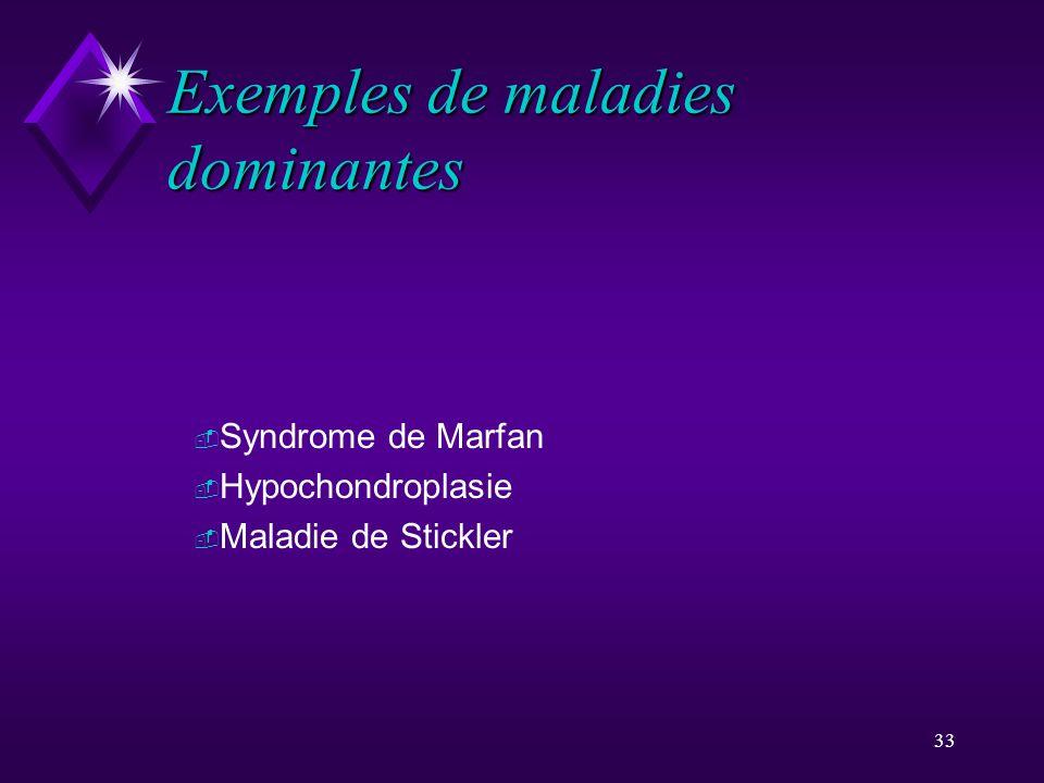 Exemples de maladies dominantes