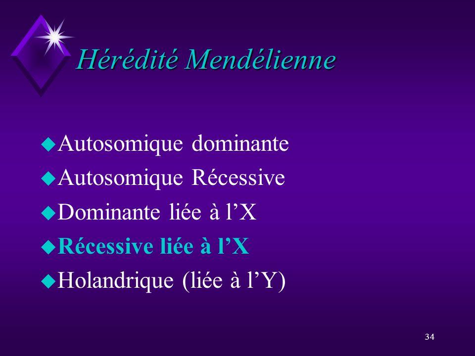 Hérédité Mendélienne Autosomique dominante Autosomique Récessive