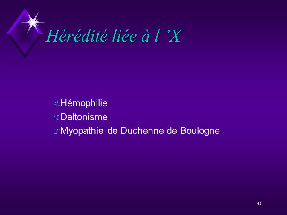 Hérédité liée à l 'X Hémophilie Daltonisme