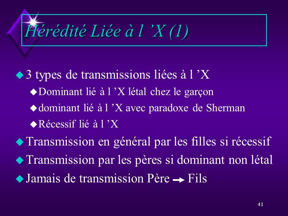 Hérédité Liée à l 'X (1) 3 types de transmissions liées à l 'X