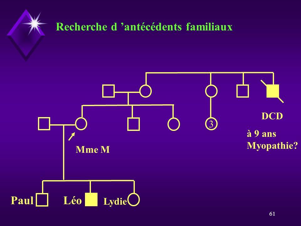 Recherche d 'antécédents familiaux