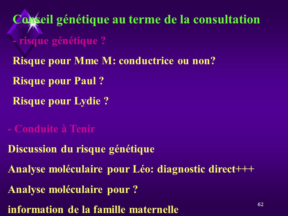 Conseil génétique au terme de la consultation