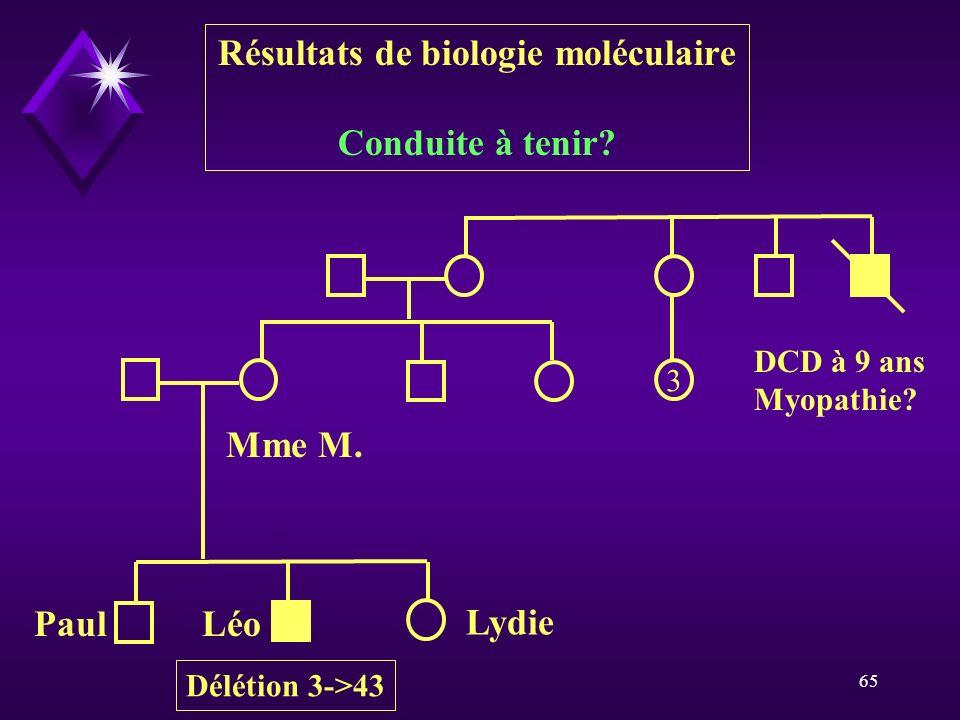 Résultats de biologie moléculaire
