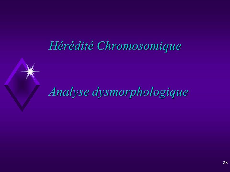 Hérédité Chromosomique Analyse dysmorphologique