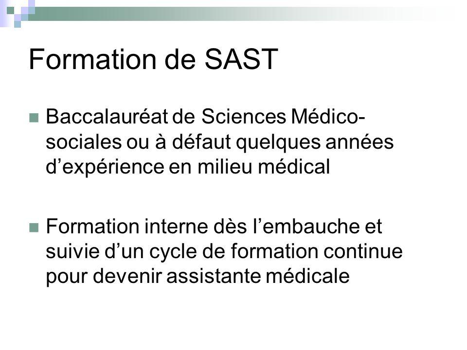 Formation de SASTBaccalauréat de Sciences Médico-sociales ou à défaut quelques années d'expérience en milieu médical.