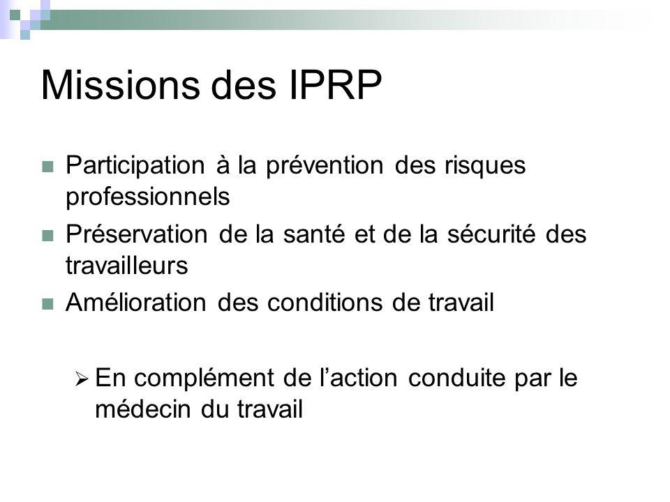 Missions des IPRP Participation à la prévention des risques professionnels. Préservation de la santé et de la sécurité des travailleurs.