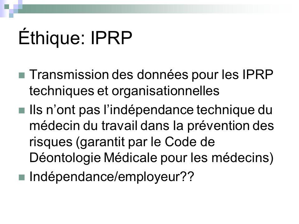 Éthique: IPRP Transmission des données pour les IPRP techniques et organisationnelles.