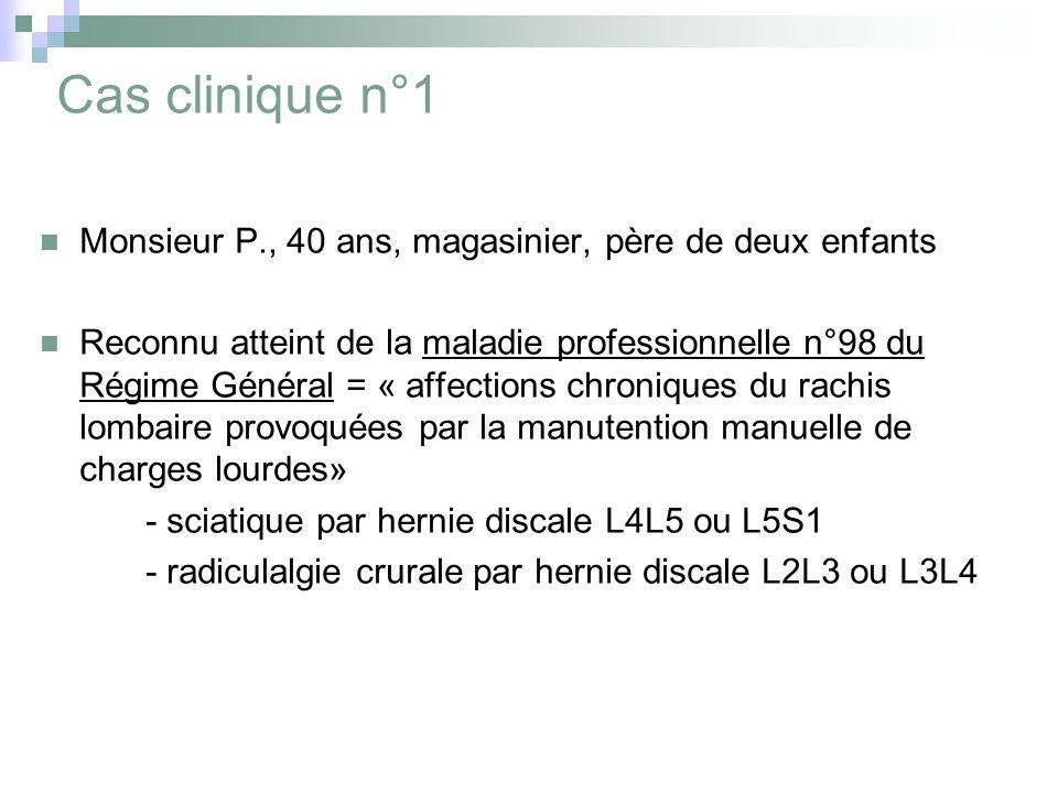 Cas clinique n°1 Monsieur P., 40 ans, magasinier, père de deux enfants