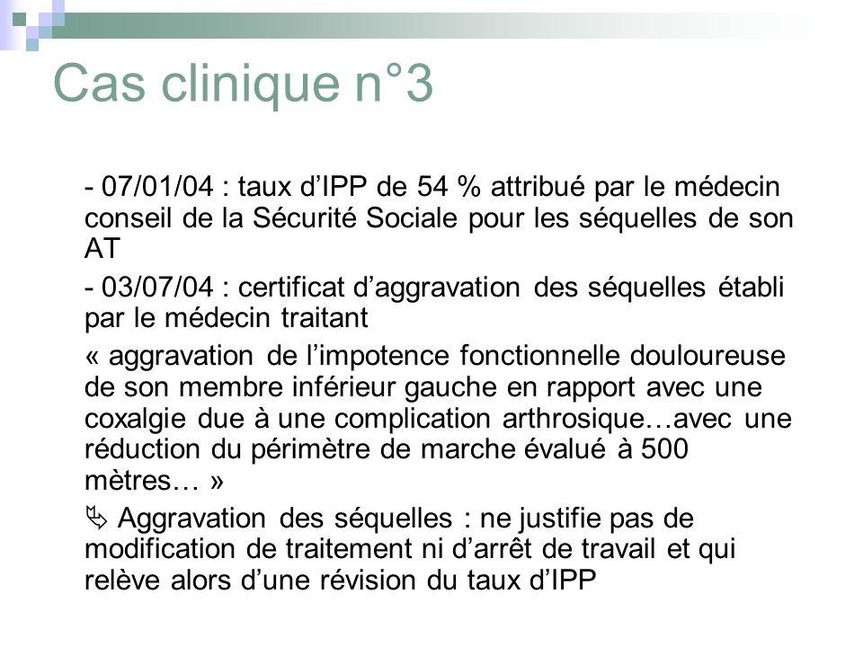 Cas clinique n°3 - 07/01/04 : taux d'IPP de 54 % attribué par le médecin conseil de la Sécurité Sociale pour les séquelles de son AT.