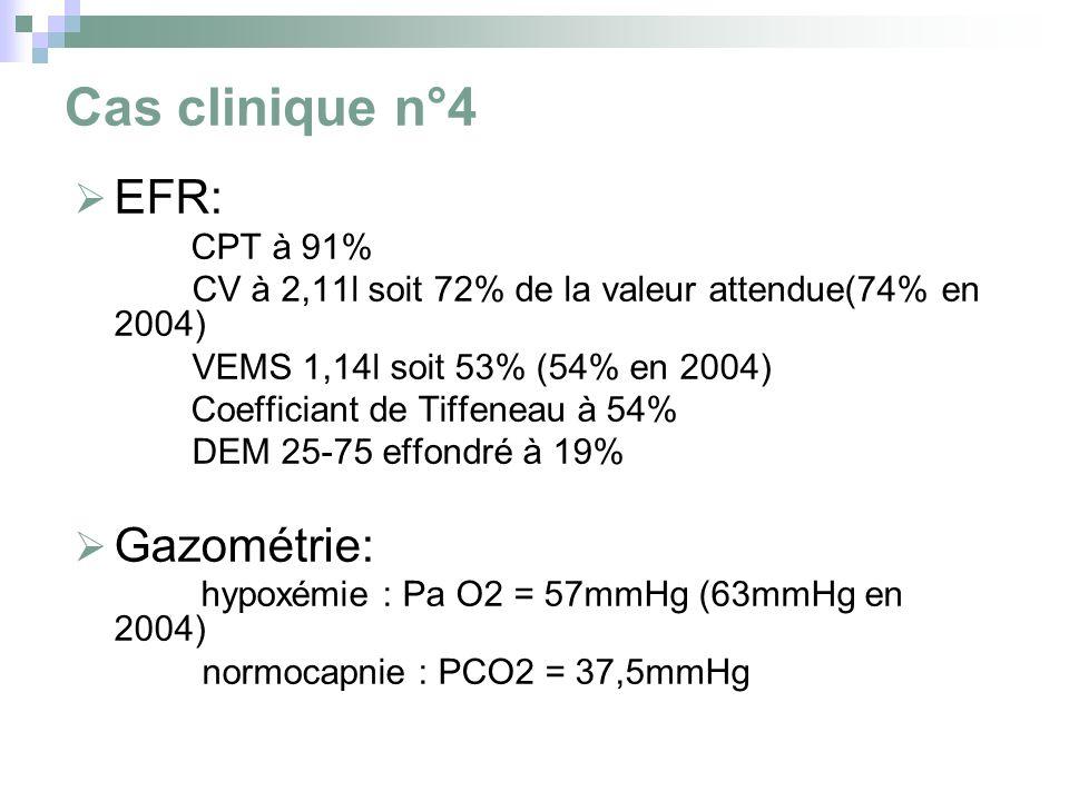 Cas clinique n°4 EFR: Gazométrie: CPT à 91%