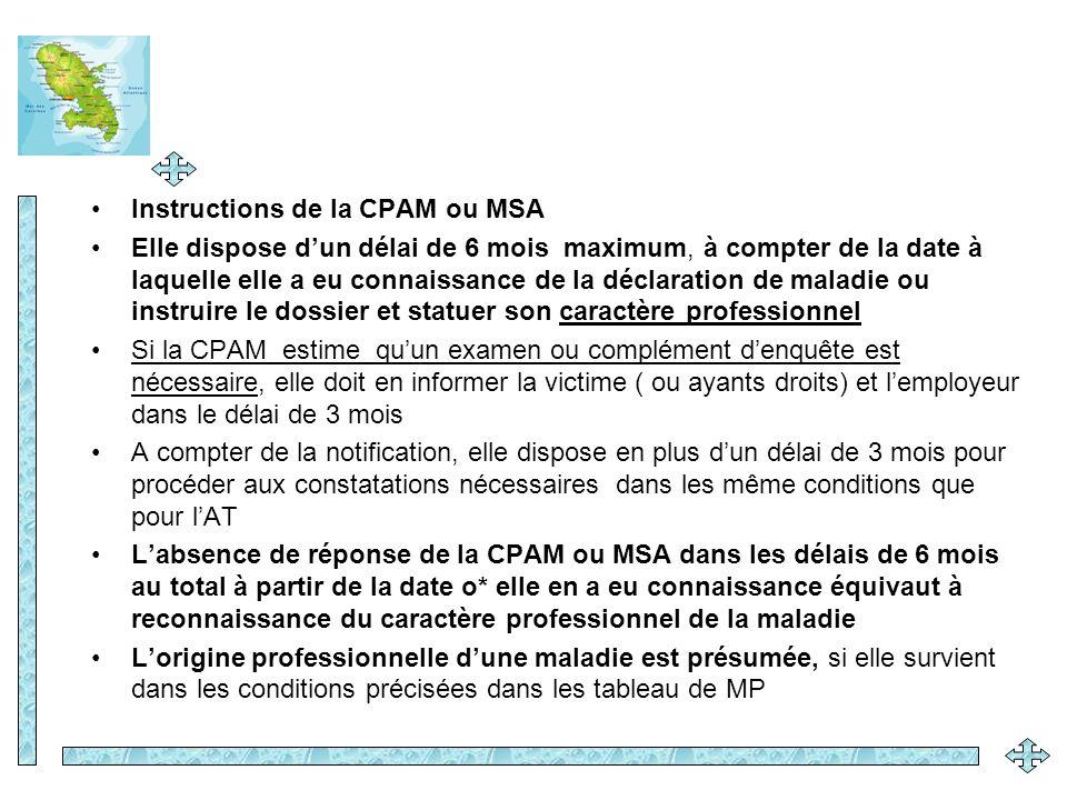 Instructions de la CPAM ou MSA
