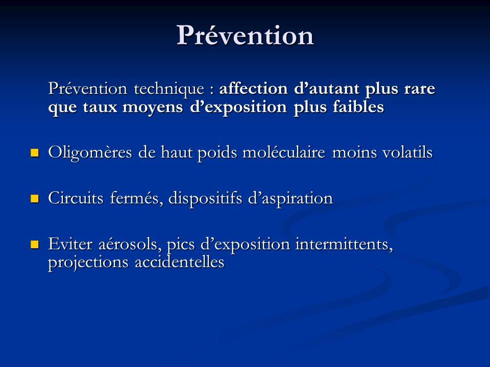 Prévention Prévention technique : affection d'autant plus rare que taux moyens d'exposition plus faibles.