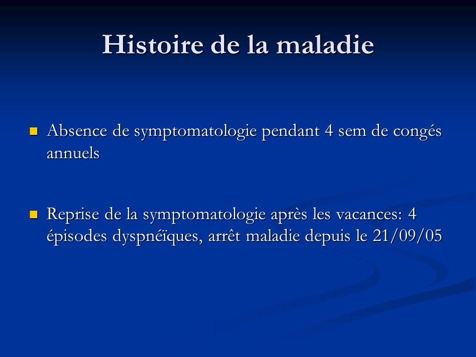 Histoire de la maladie Absence de symptomatologie pendant 4 sem de congés annuels.