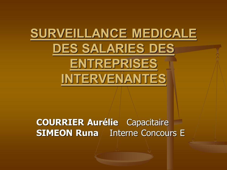 SURVEILLANCE MEDICALE DES SALARIES DES ENTREPRISES INTERVENANTES