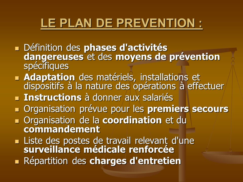 LE PLAN DE PREVENTION : Définition des phases d activités dangereuses et des moyens de prévention spécifiques.