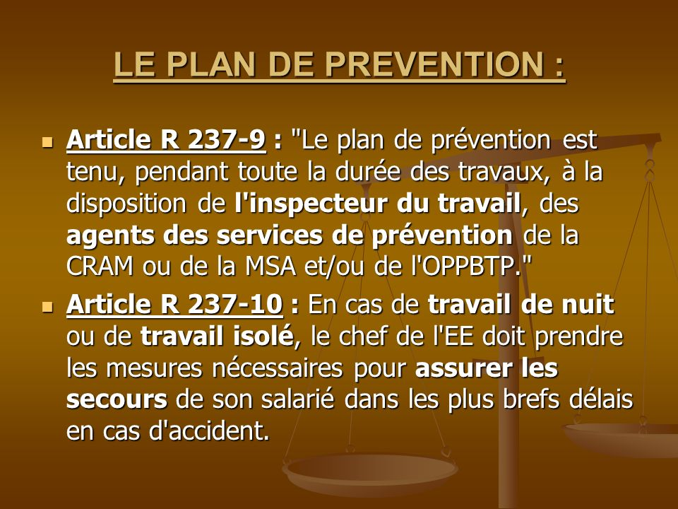 LE PLAN DE PREVENTION :