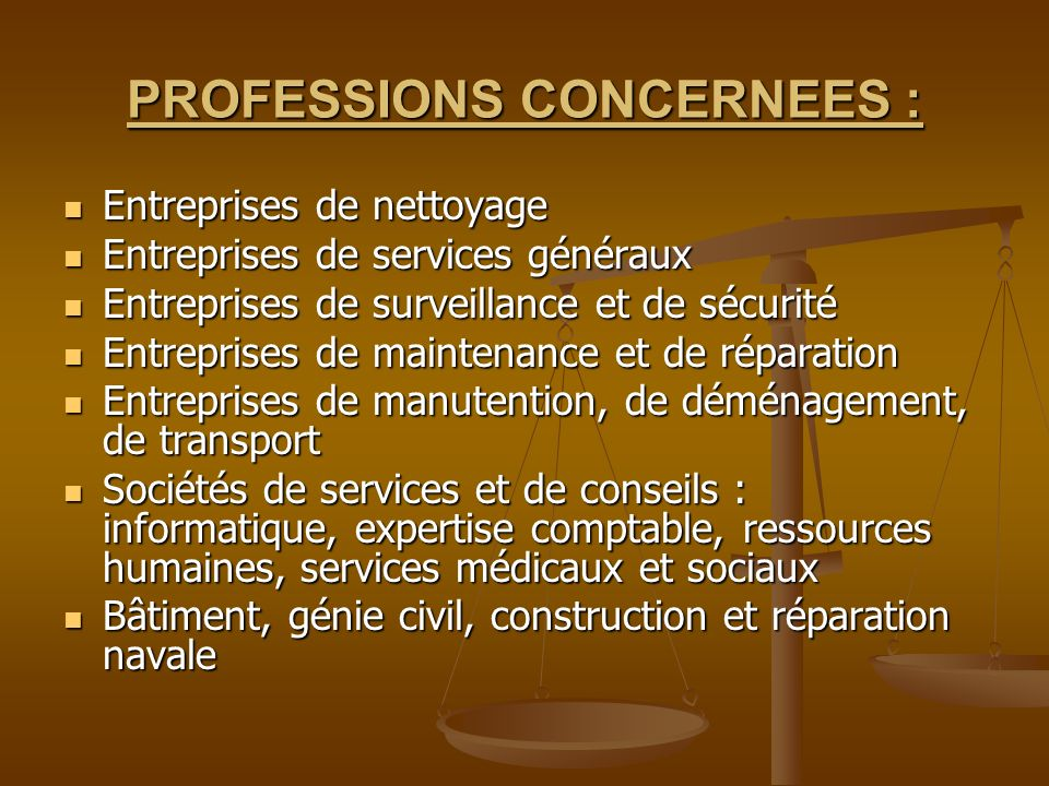 PROFESSIONS CONCERNEES :