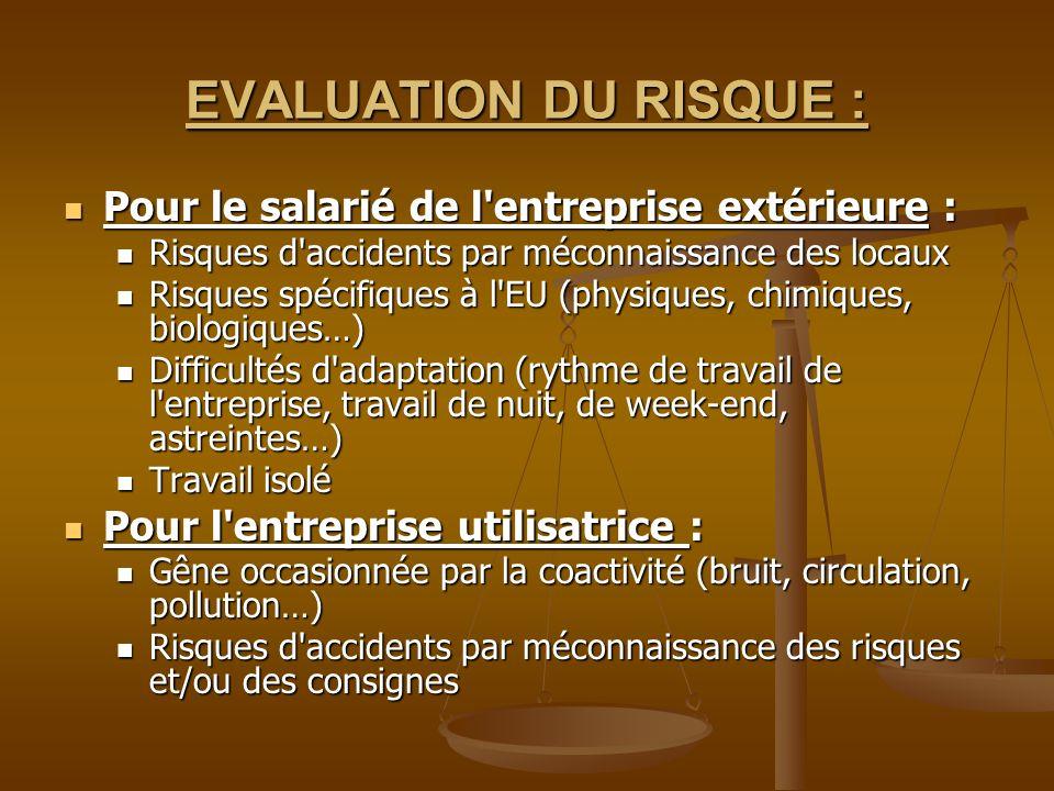 EVALUATION DU RISQUE : Pour le salarié de l entreprise extérieure :