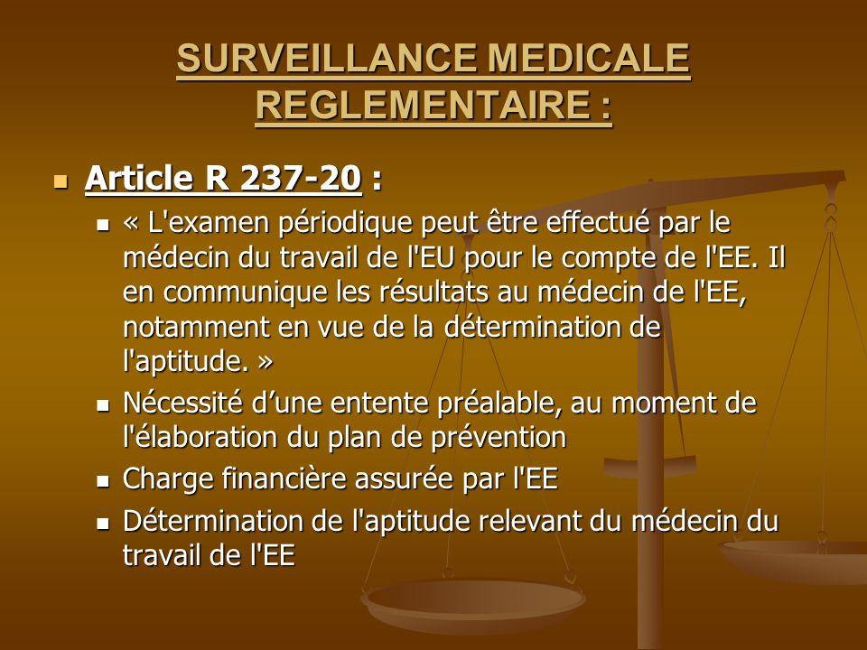 SURVEILLANCE MEDICALE REGLEMENTAIRE :