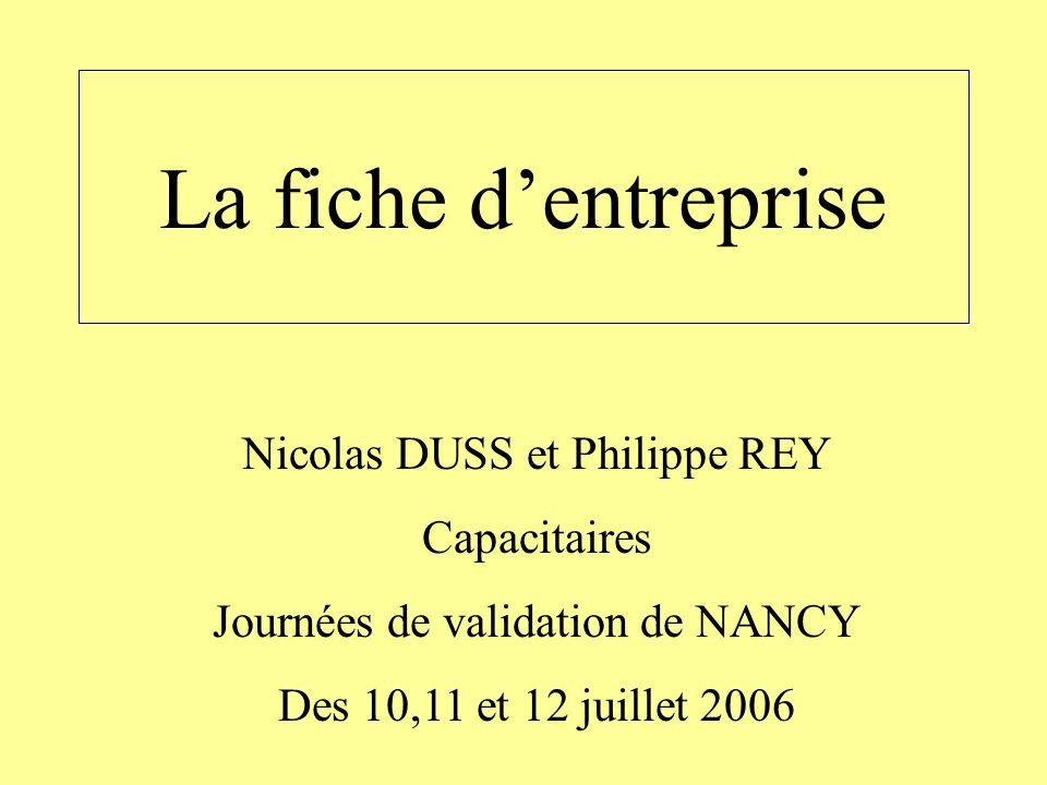 La fiche d'entreprise Nicolas DUSS et Philippe REY Capacitaires