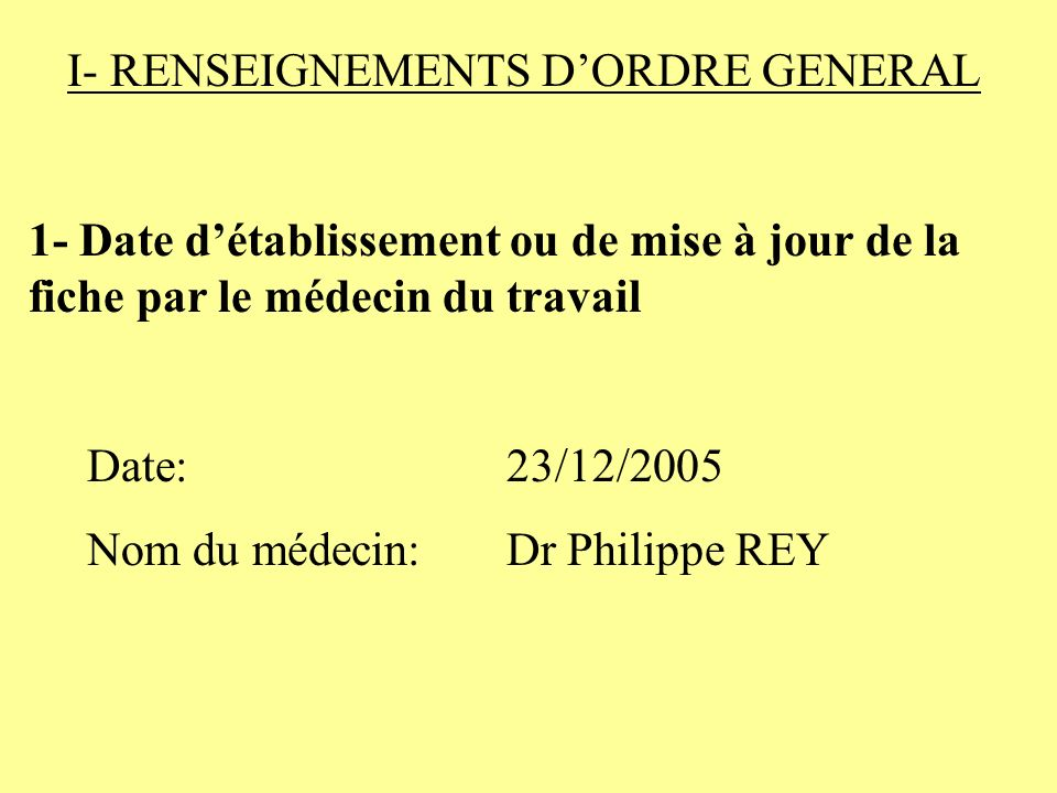 I- RENSEIGNEMENTS D'ORDRE GENERAL