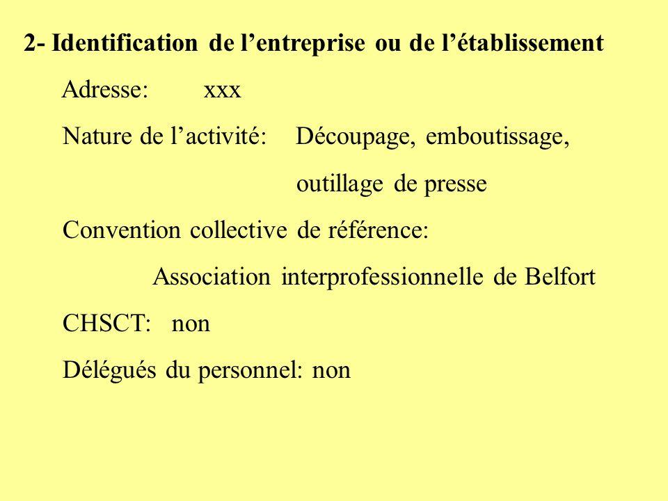 2- Identification de l'entreprise ou de l'établissement