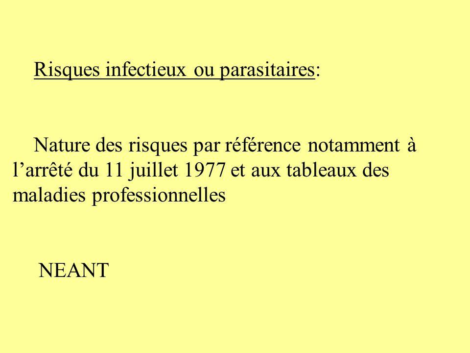 Risques infectieux ou parasitaires: