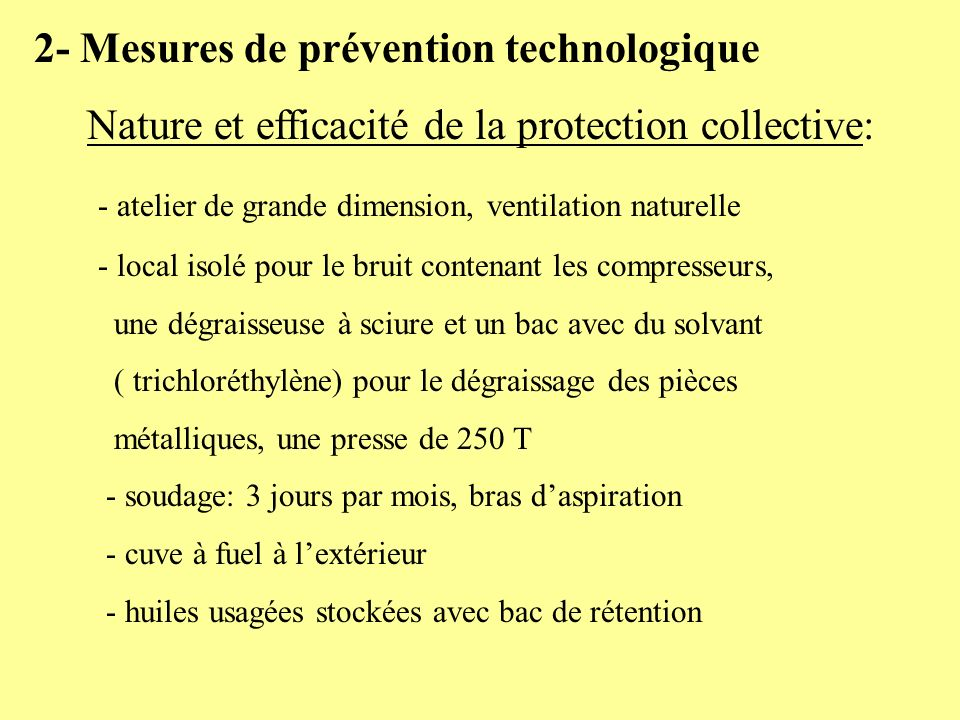 2- Mesures de prévention technologique