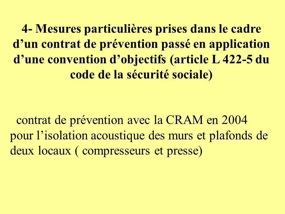 4- Mesures particulières prises dans le cadre d'un contrat de prévention passé en application d'une convention d'objectifs (article L 422-5 du code de la sécurité sociale)