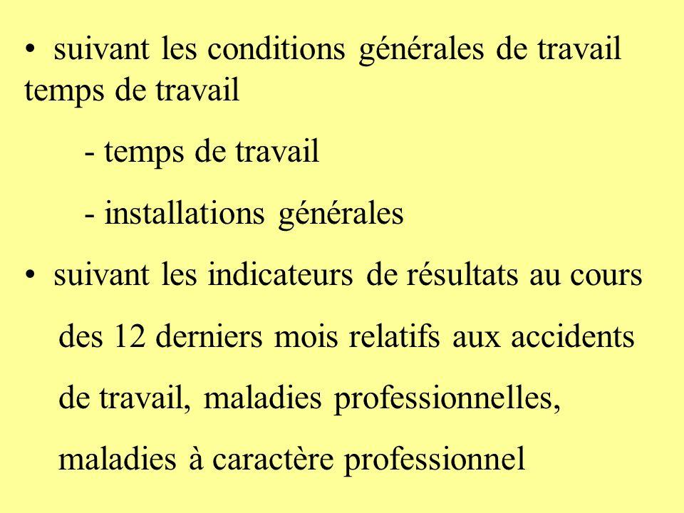 suivant les conditions générales de travail temps de travail