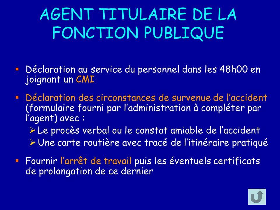 AGENT TITULAIRE DE LA FONCTION PUBLIQUE