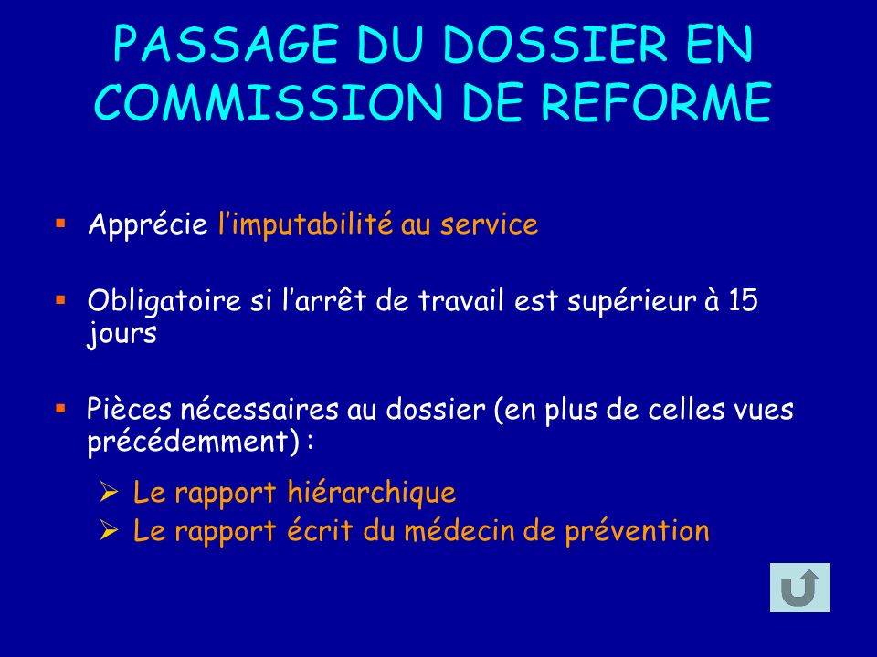 PASSAGE DU DOSSIER EN COMMISSION DE REFORME