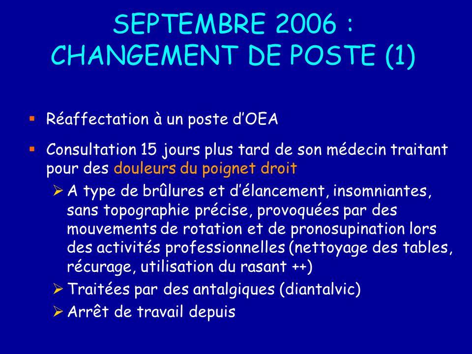 SEPTEMBRE 2006 : CHANGEMENT DE POSTE (1)