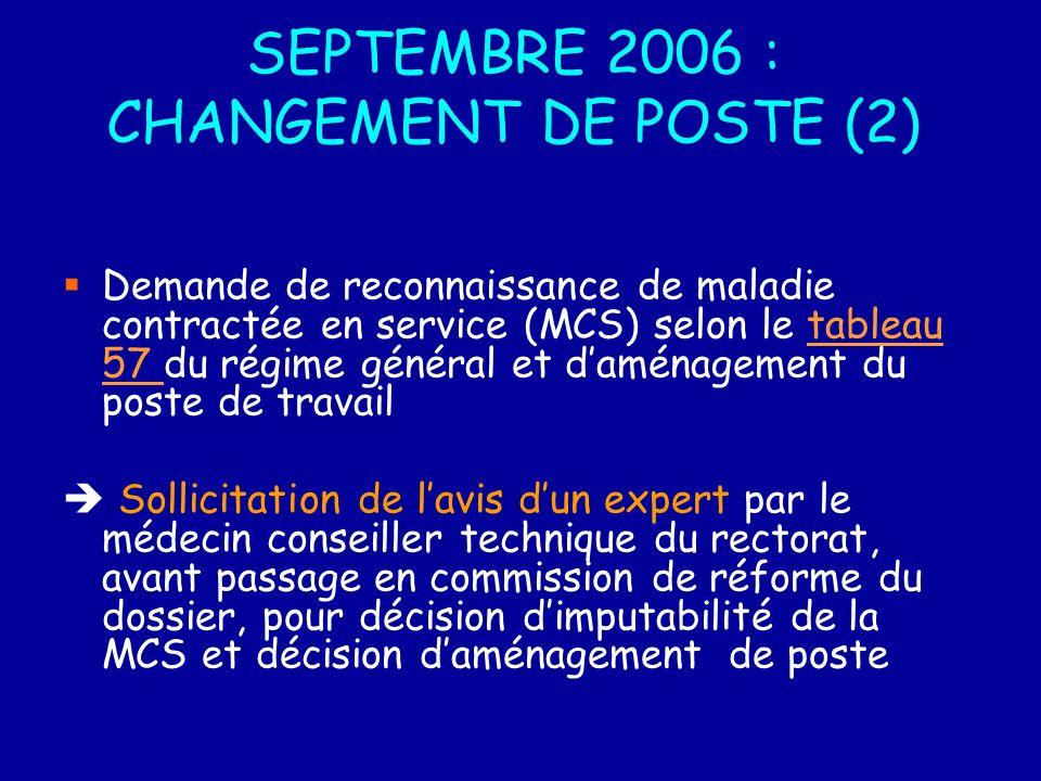 SEPTEMBRE 2006 : CHANGEMENT DE POSTE (2)