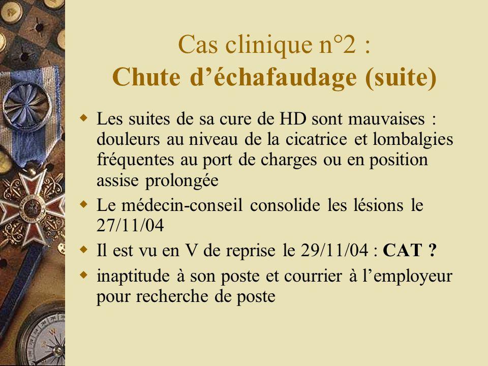 Cas clinique n°2 : Chute d'échafaudage (suite)