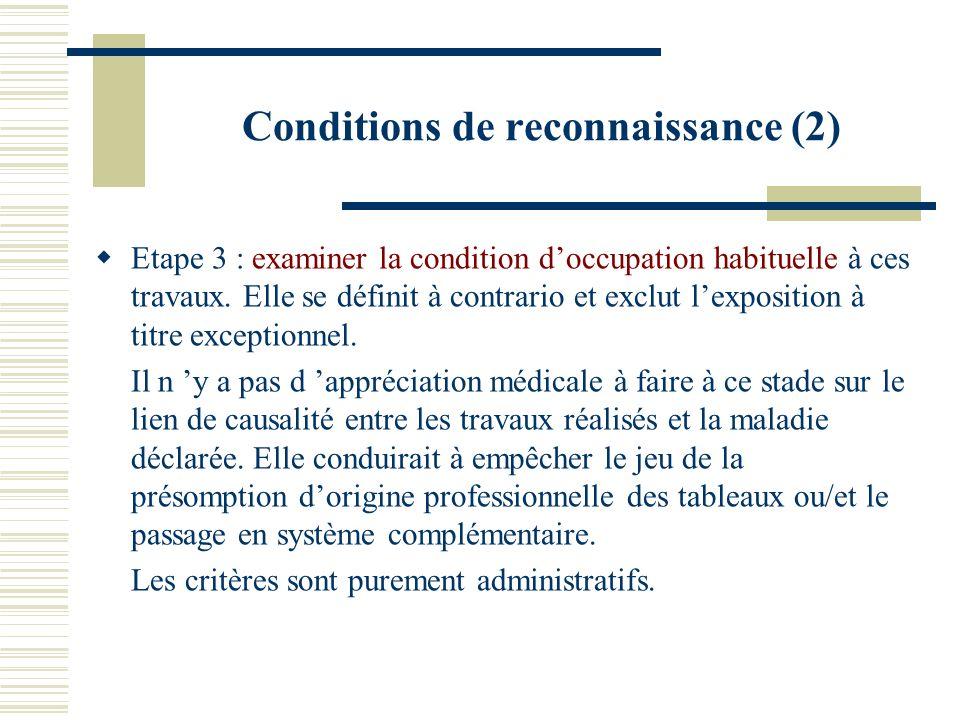 Conditions de reconnaissance (2)
