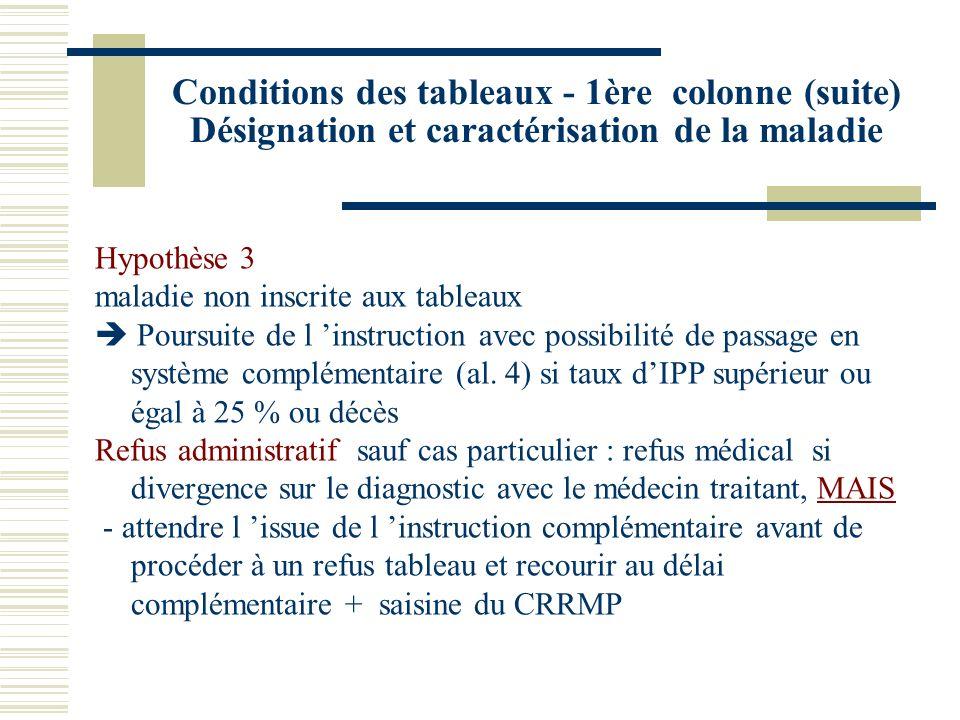 Conditions des tableaux - 1ère colonne (suite) Désignation et caractérisation de la maladie