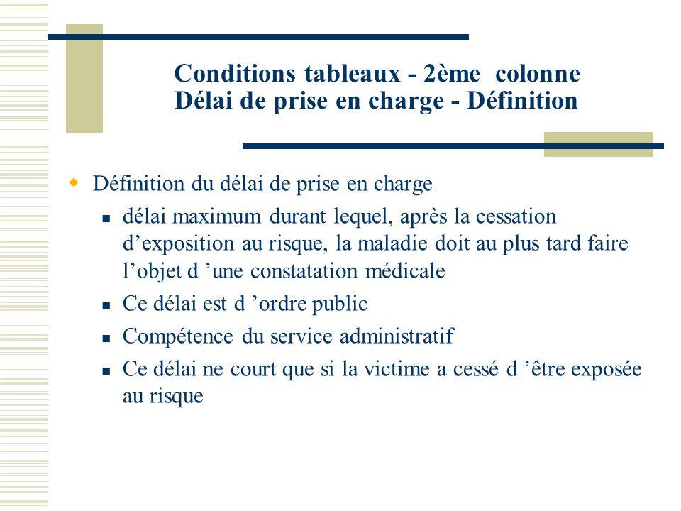 Conditions tableaux - 2ème colonne Délai de prise en charge - Définition