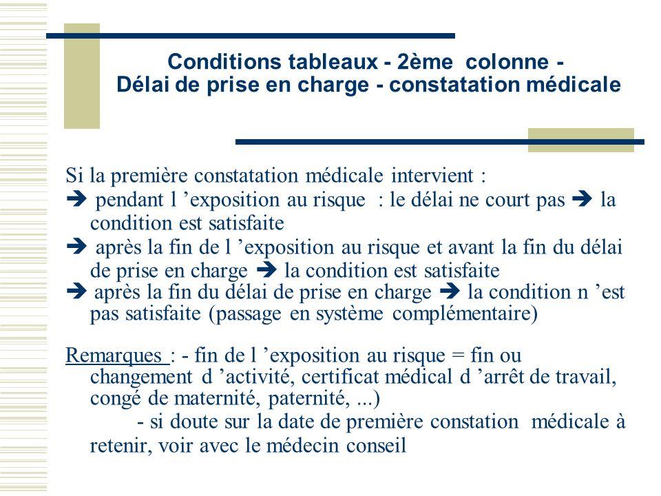 Conditions tableaux - 2ème colonne - Délai de prise en charge - constatation médicale
