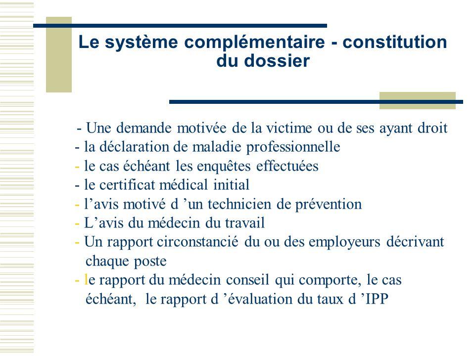 Le système complémentaire - constitution du dossier