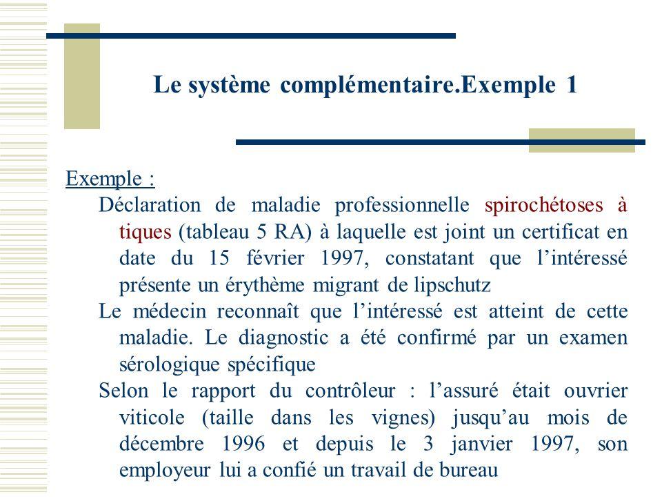 Le système complémentaire.Exemple 1